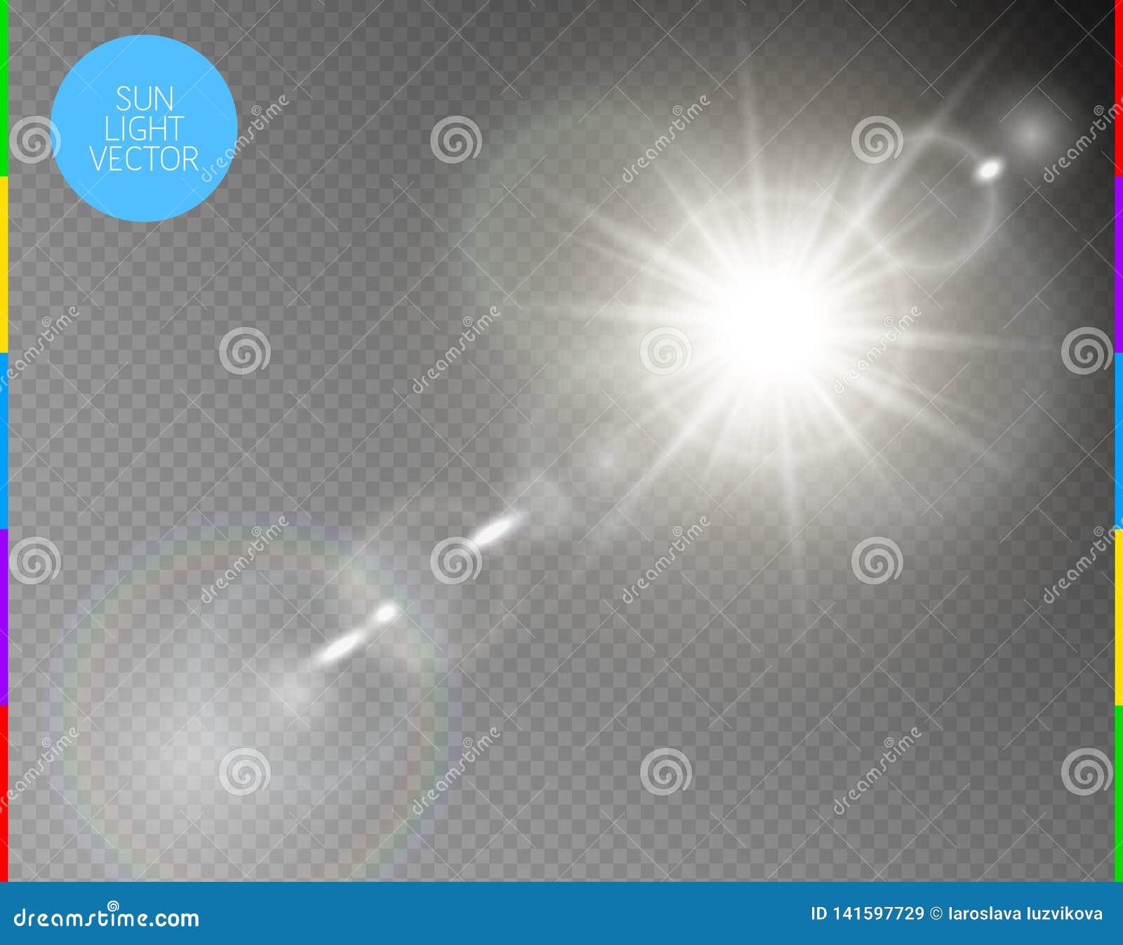 Vector transparant de gloed lichteffect van de zonlicht speciaal lens De de geïsoleerde stralen en schijnwerper van de zonflits W