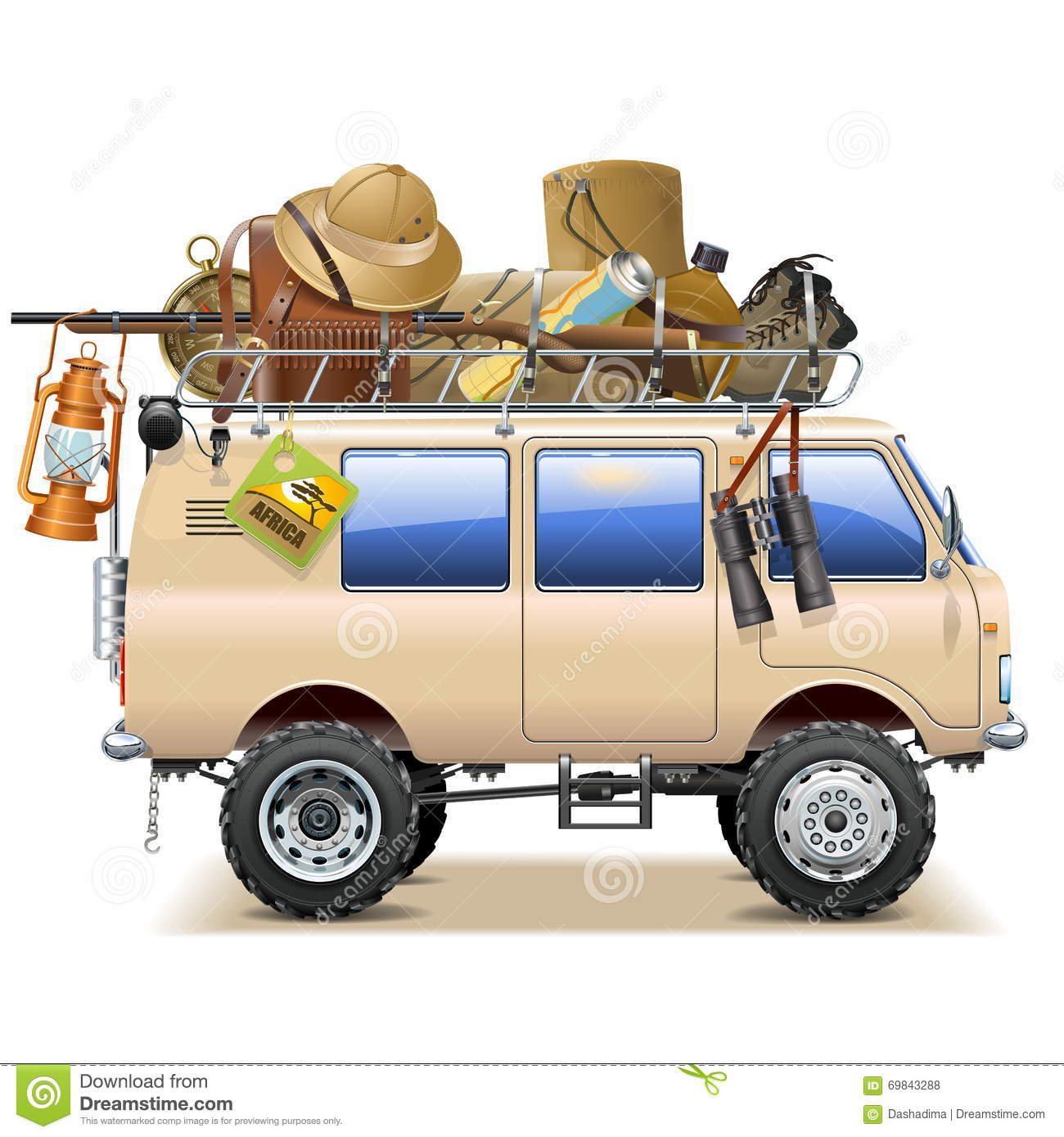 Vector travel car with safari accessories stock vector image 69843288 for Travel gear car