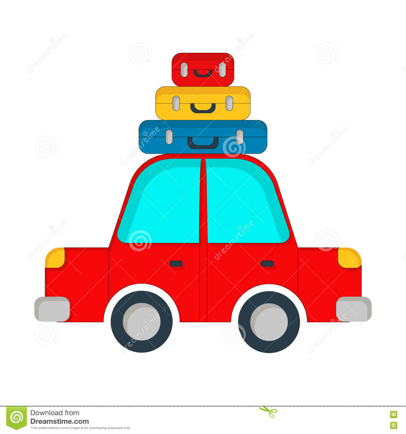 Vector Travel Car Illustration Stock
