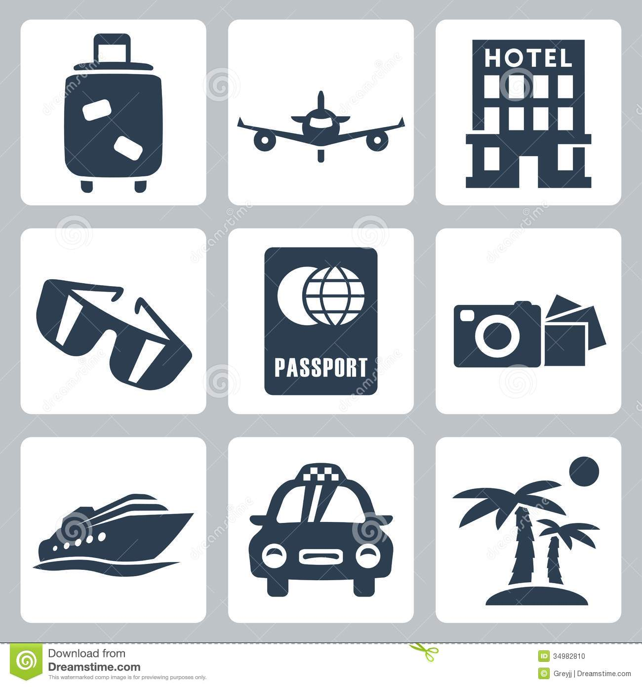 Vector Travel Icons Set Stock Photo Image 34982810