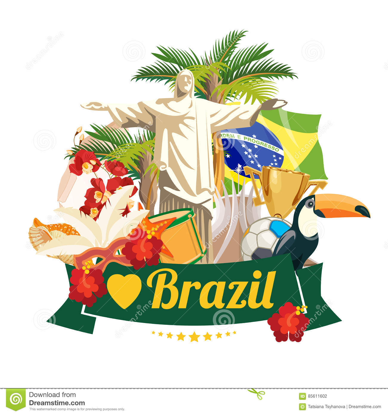vector travel poster of brazil colorful poster with