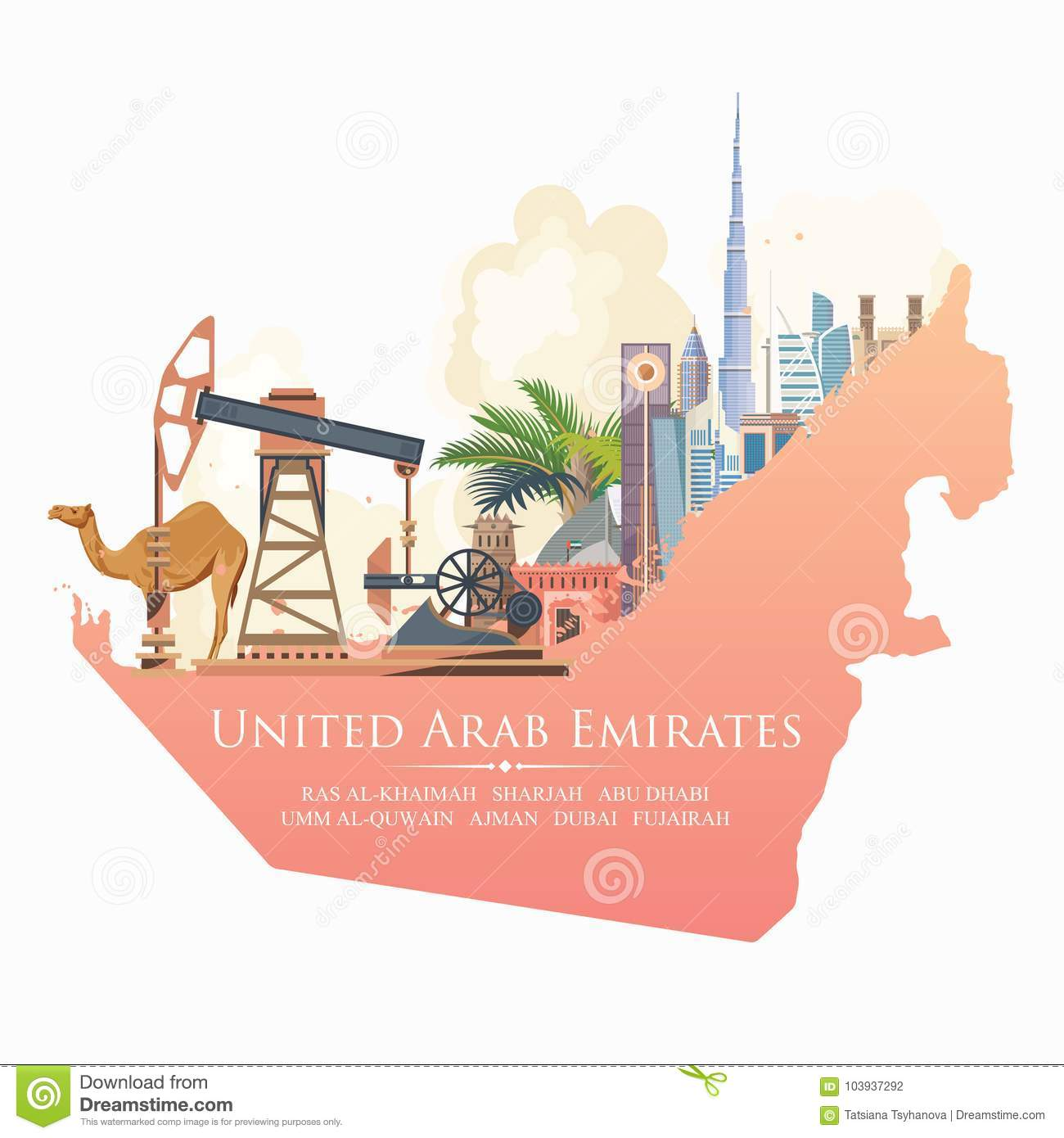 Vector Travel Poster Of United Arab Emirates With Pipeline  UAE