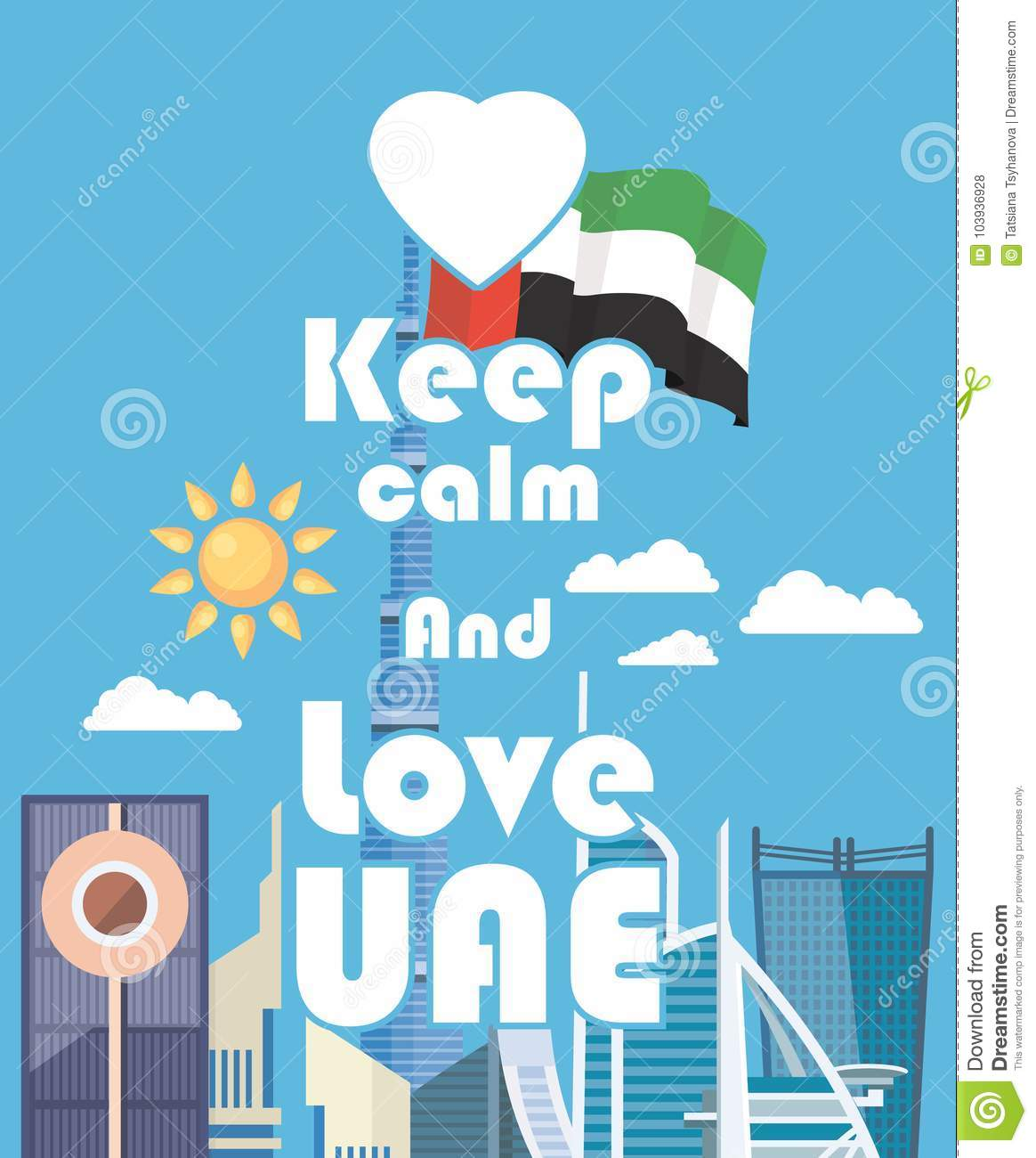 vector travel poster of united arab emirates keep calm uae