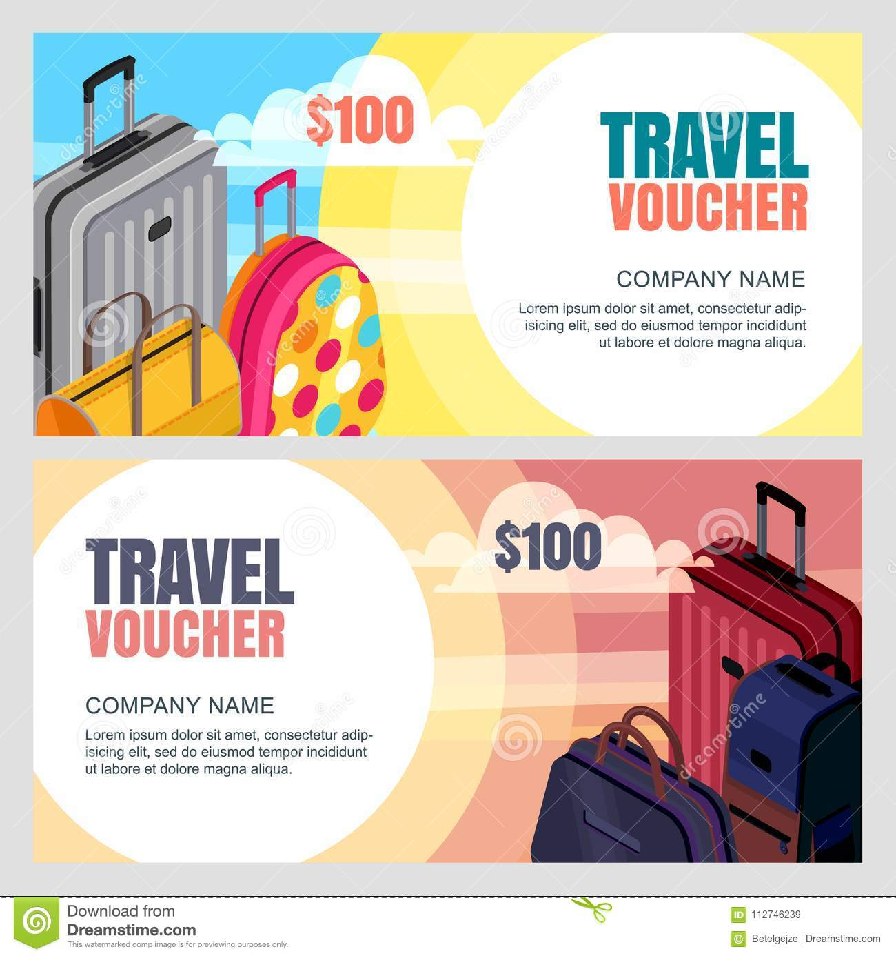 Vector travel voucher template. 3d isometric illustration of luggage bags.  Banner, coupon, certificate, flyer layout. 5e46166266