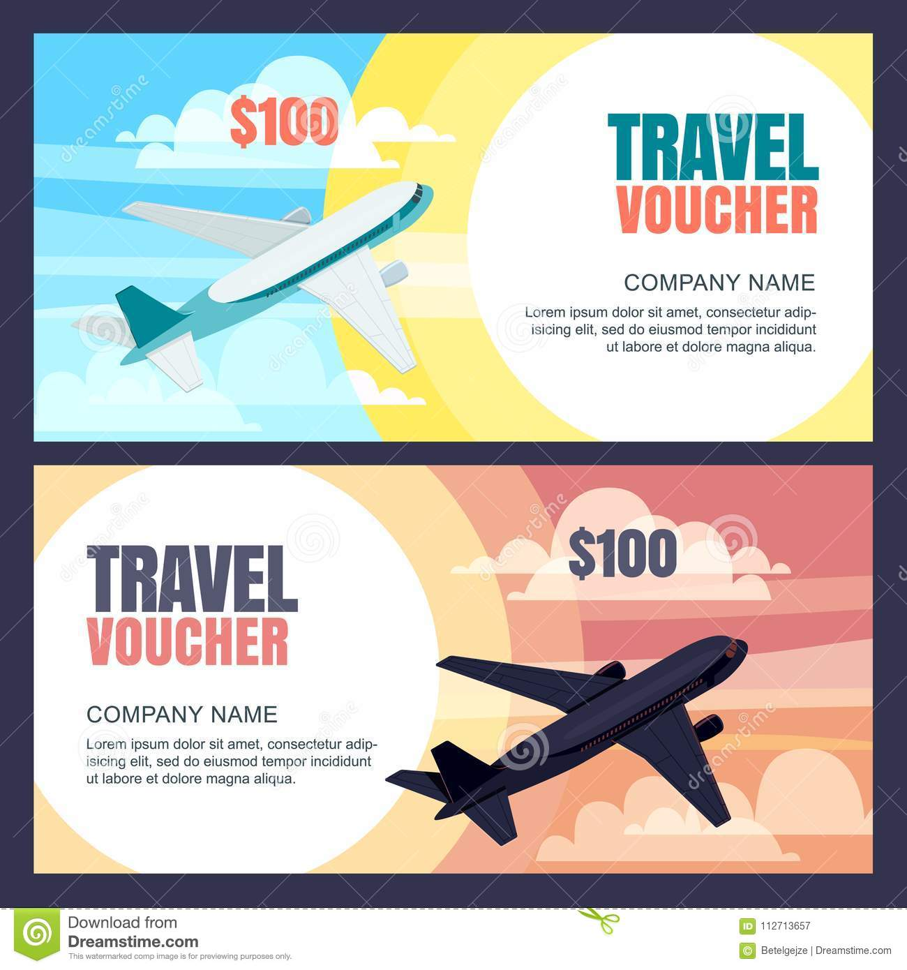 Vector Travel Voucher Template Flying Airplane Day And Night Flight Banner Coupon