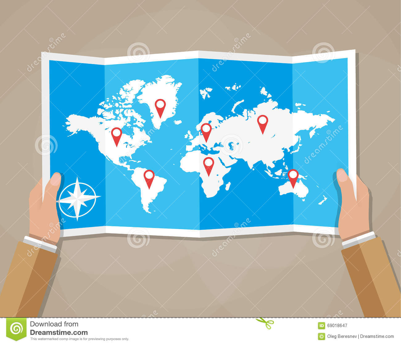 Vector travel world map in hands stock vector illustration of hand royalty free vector download vector travel world map gumiabroncs Images