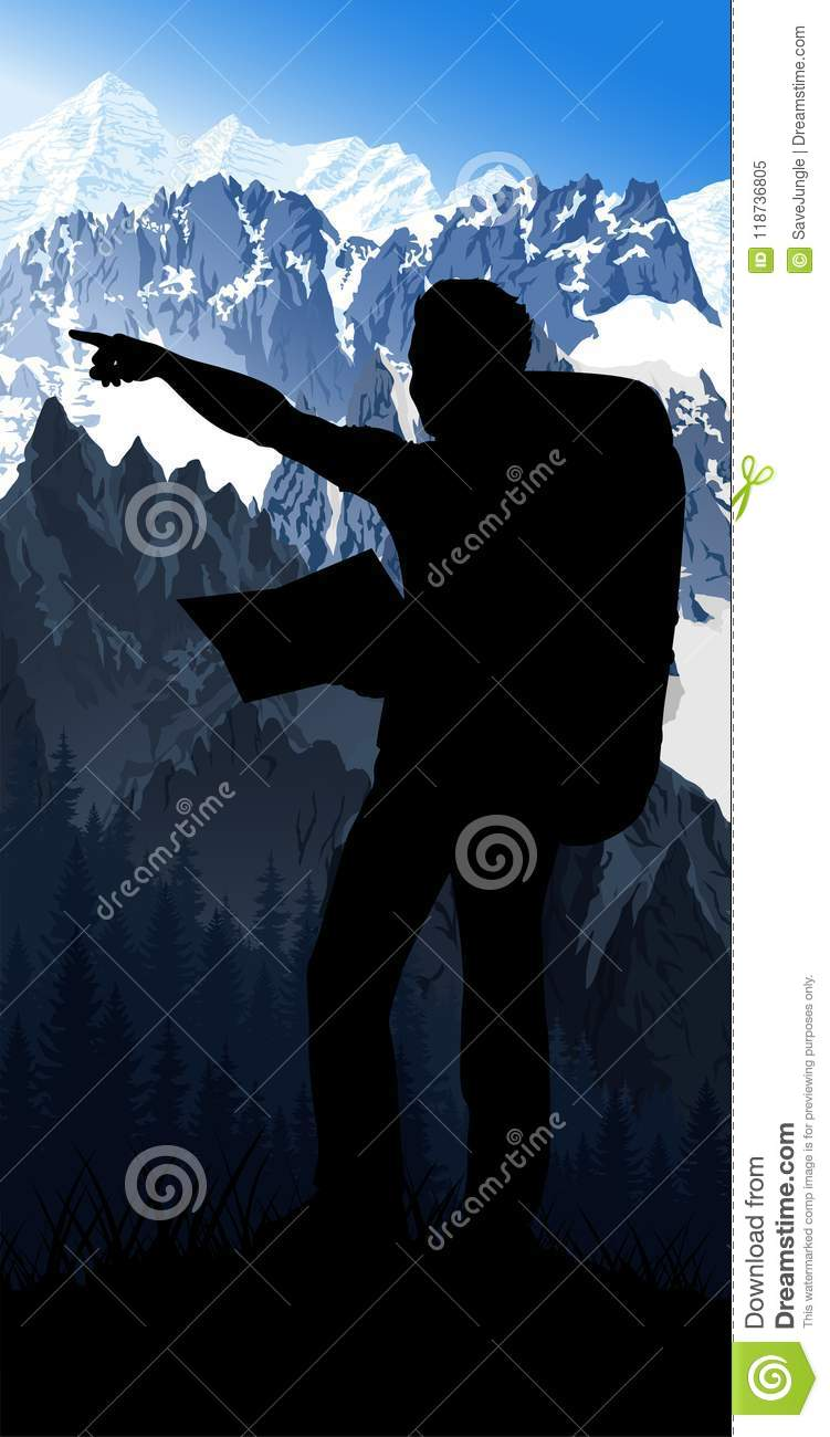 Mont Blanc France Map.Vector Traveler With Map In Morning Mont Blanc In Alps Mountain