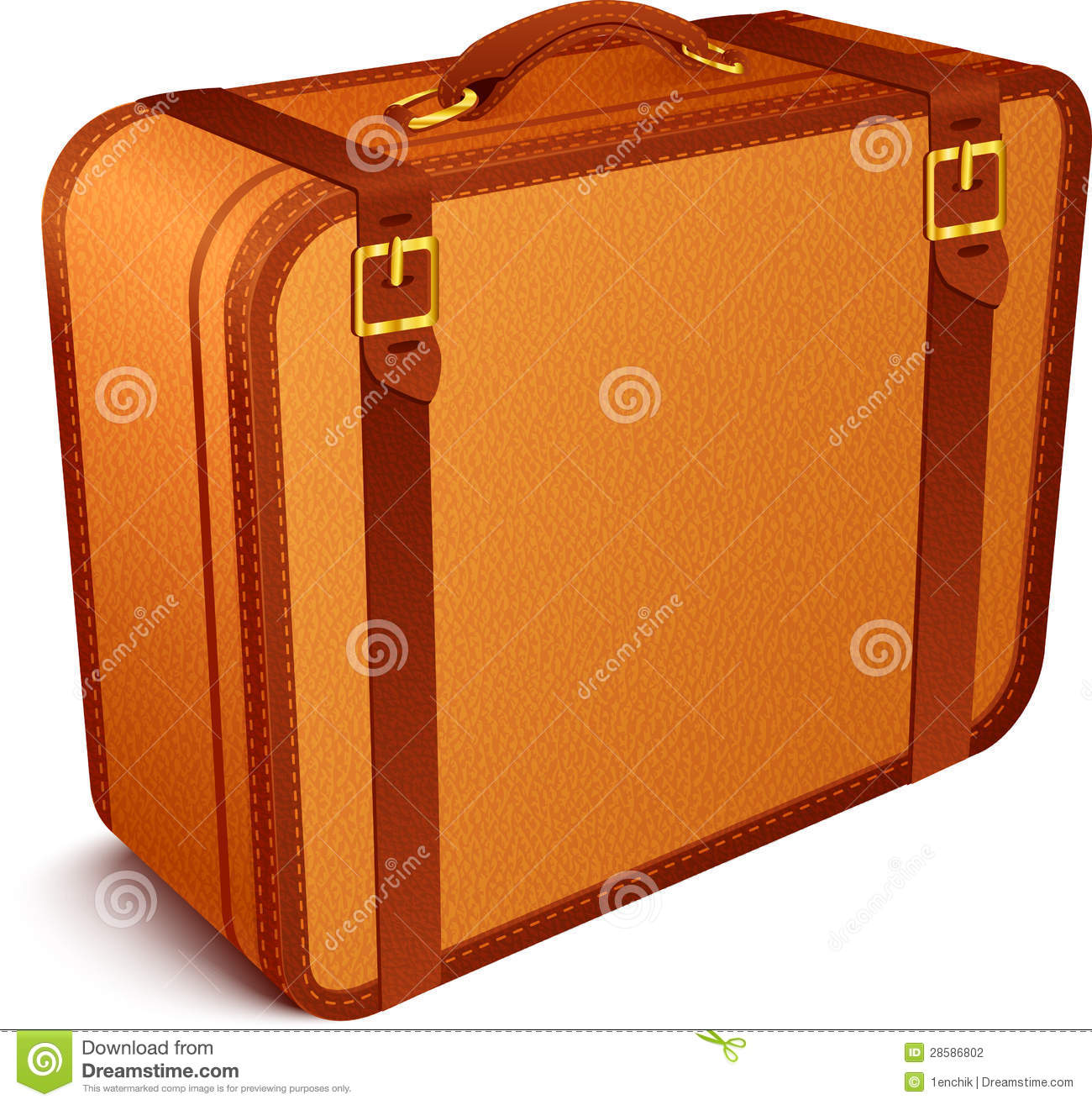 Vector Traveller's Brown Leather Suitcase Stock Photography ...