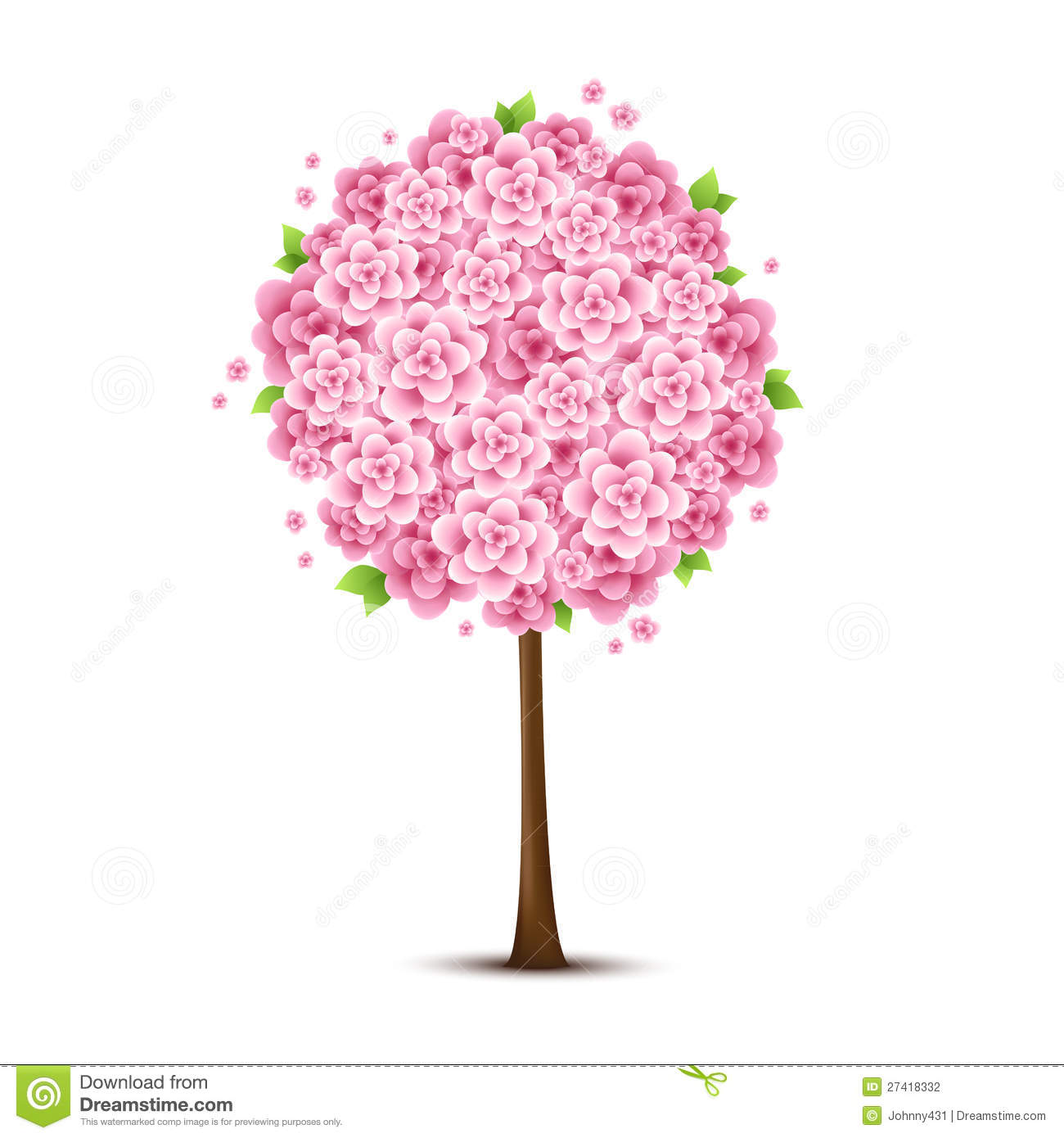 Vector Tree With Pink Flowers Stock graphy Image