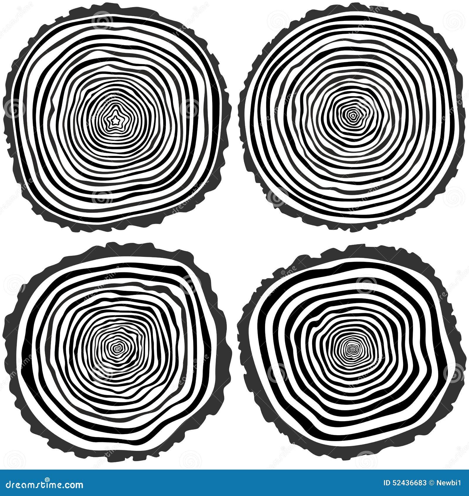 Cut Tree Icons, Tree Rings Illustration Stock Illustration - Image ...