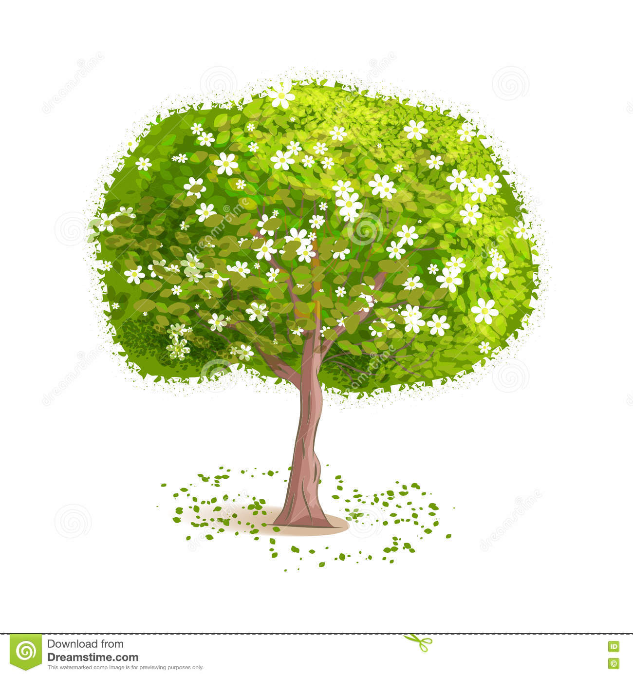 Spring Green Leaves And Flowers Background With Plants: Vector Tree Stock Vector. Illustration Of Harvest, Kind