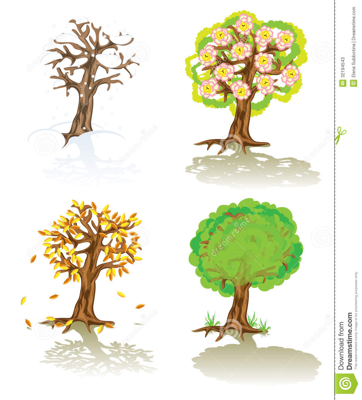 vector trees of four seasons stock photos image 32194543