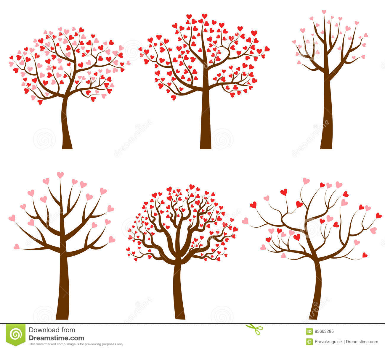 Vector Trees With Red And Pink Heart Shaped Leaves Stock Vector