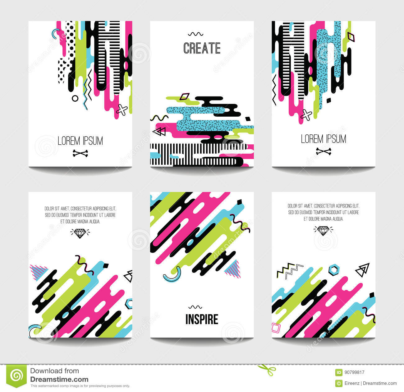 Trendy Poster Designs: Vector Trendy Brochure Templates With Chaotic Flat