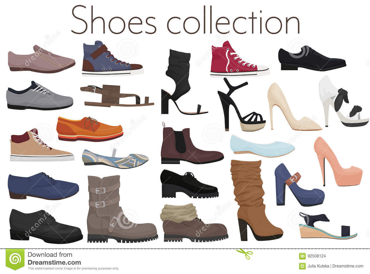b108d90348 Vector Trendy Collection Of Men`s And Women`s Shoes Fashion Footwear ...
