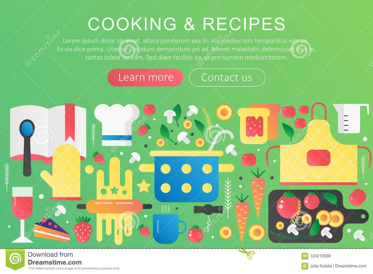 Vector Trendy Flat Gradient Color Cooking And Recipes