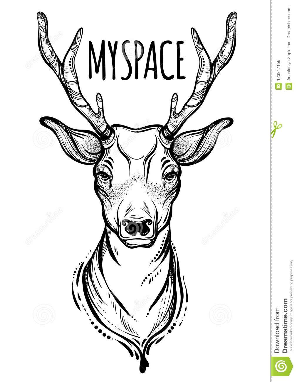 Vector Trendy Illustration With Sketched Deer My Space Concept Art