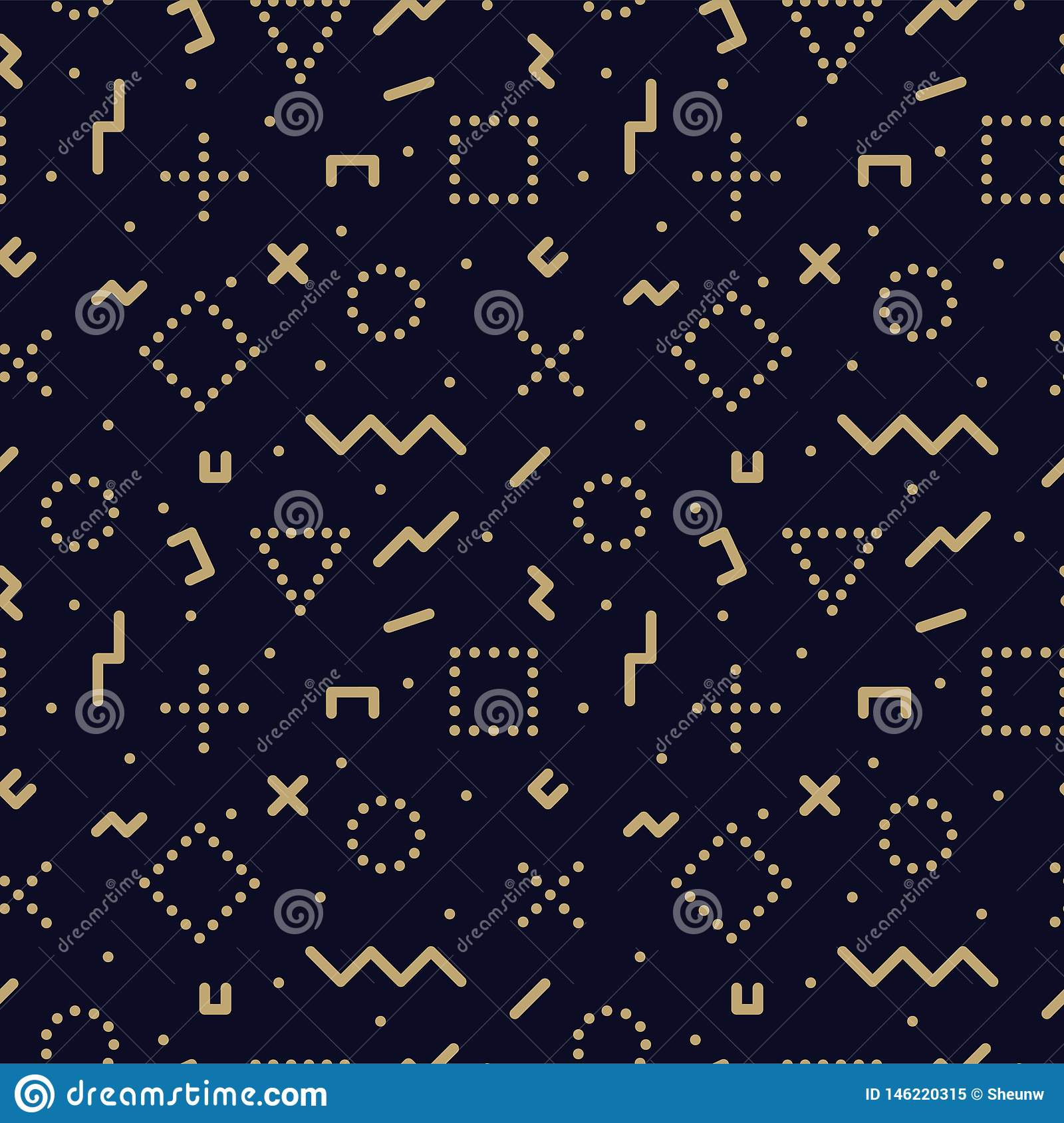 Vector Trendy Seamless Geometric Pattern - Memphis Design