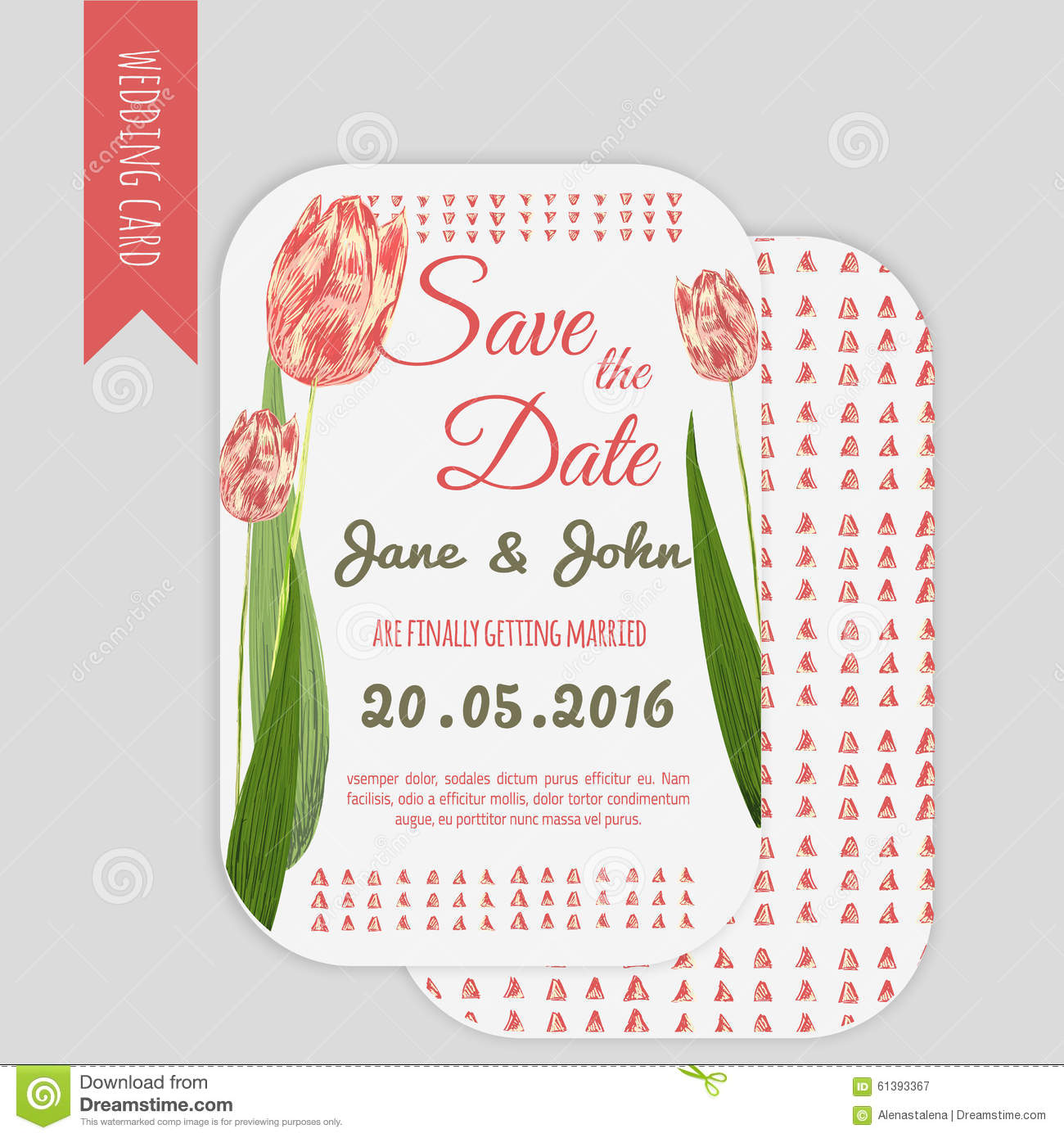Vector Trendy Set Of Wedding Invitations With Tulips Perfect For