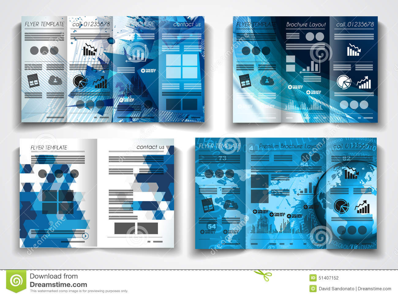 brochure layout templates - vector tri fold brochure template design or flyer layout