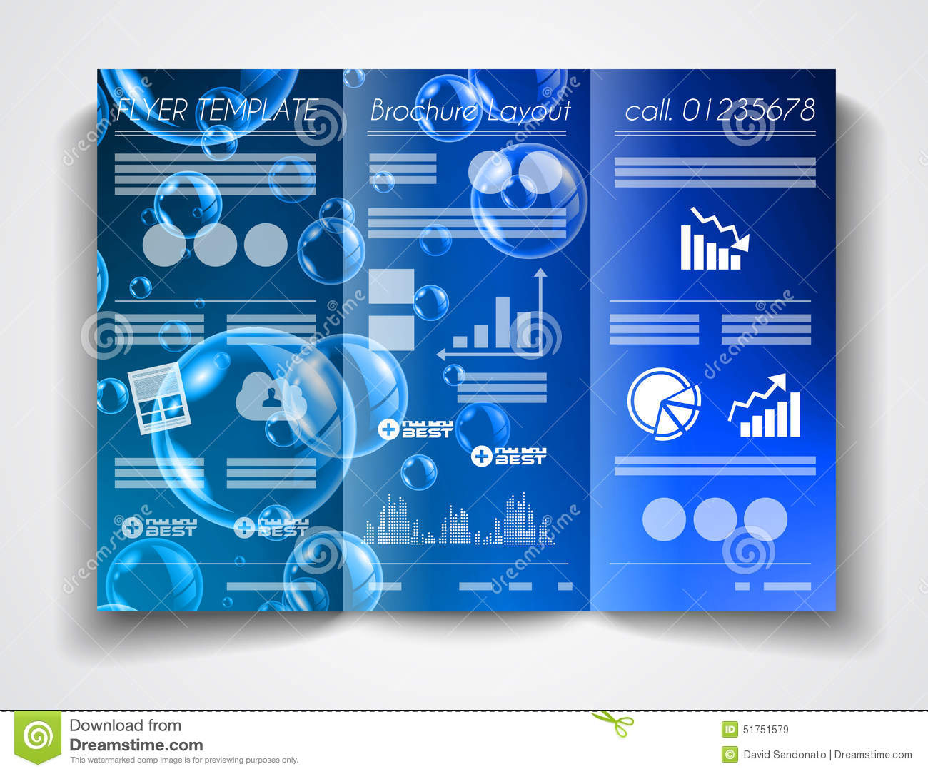 Product Tri Fold Brochure: Vector Tri Fold Brochure Template Design Or Flyer Layout