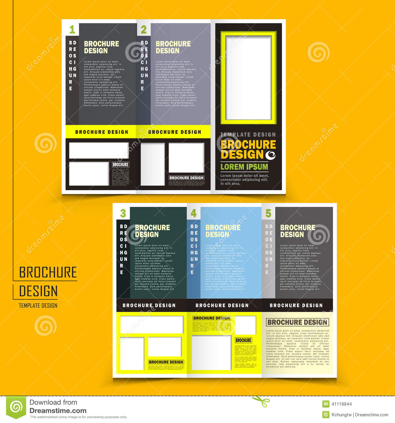 tri fold brochure template pages - vector tri fold business brochure design stock vector