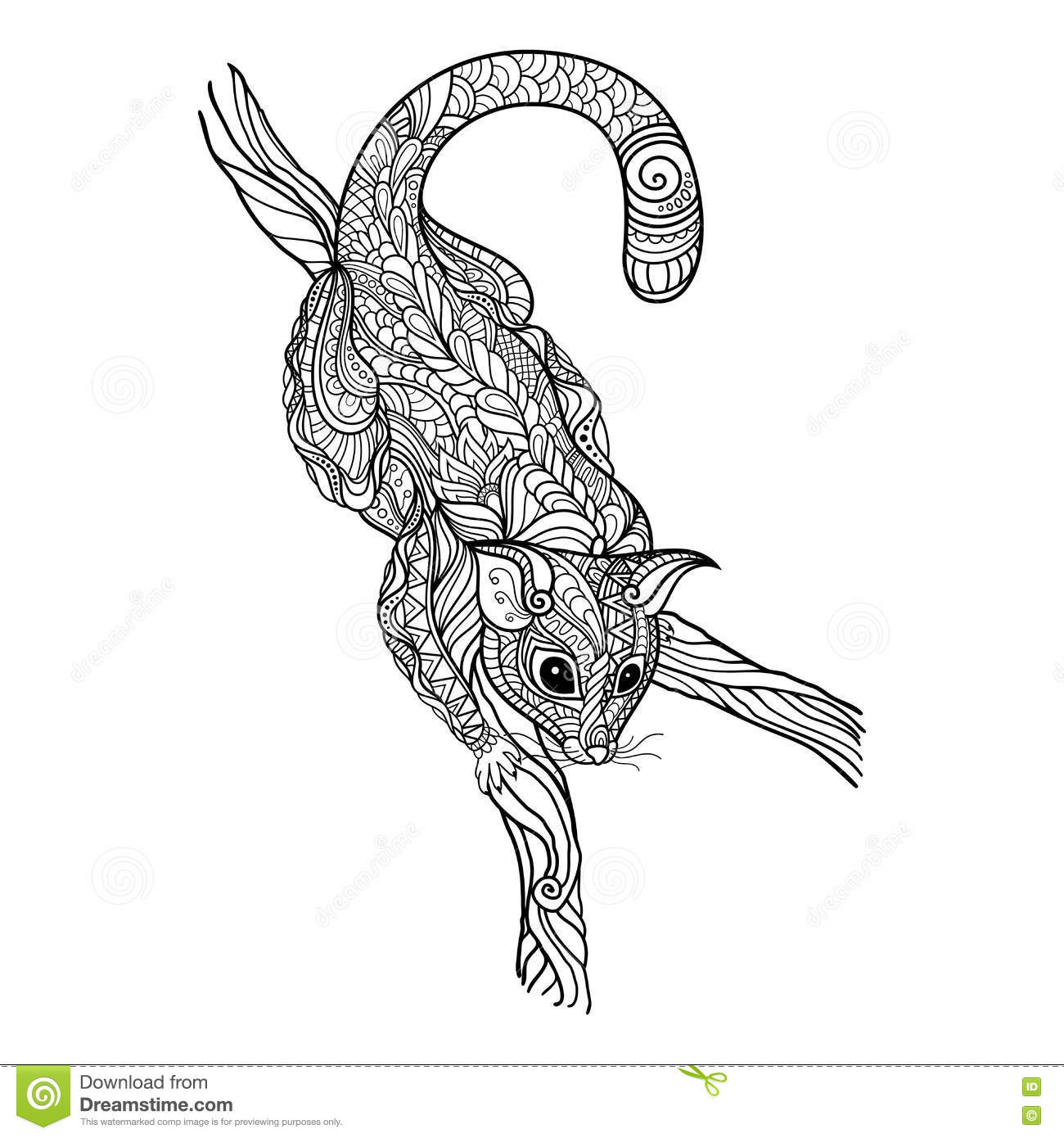 Zentangle Possum Totem For Adult Anti Stress Coloring Page