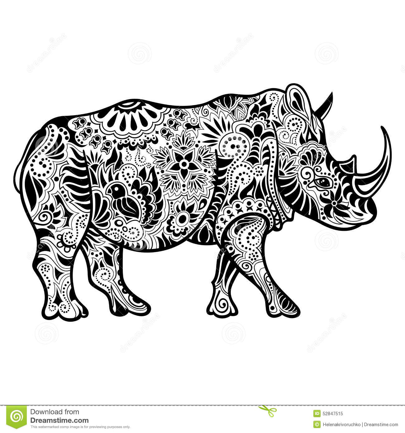 Vector Tribal Decorative Rhinoceros