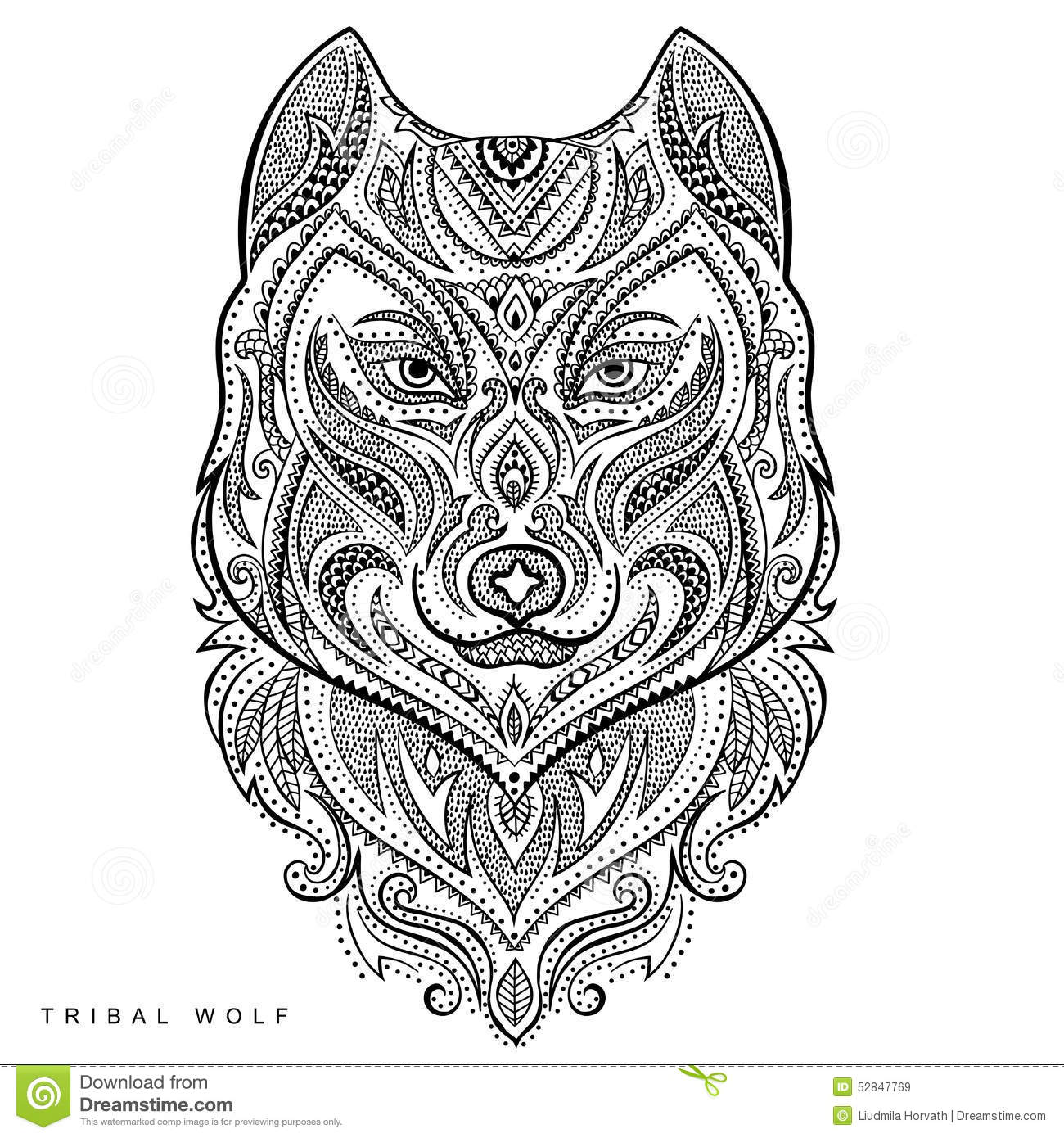 Vector Tribal Style Wolf Totem Tattoo Stock Image
