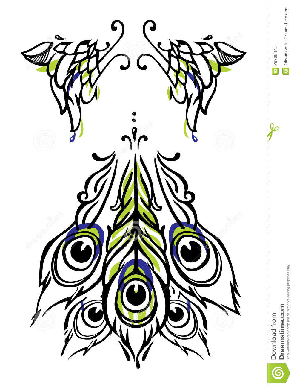 Tattoo Or Body Art Style Peacock Wings And Tail On White