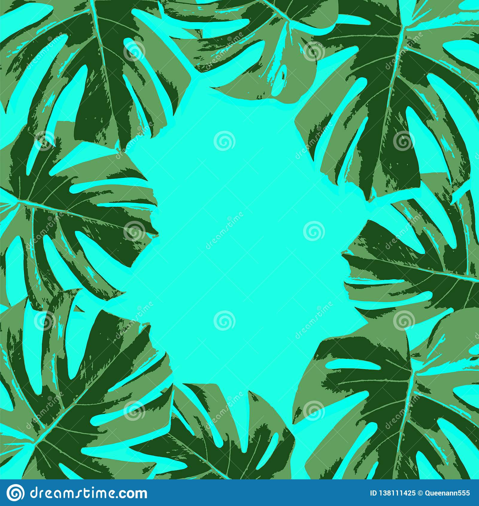 Vector Tropical Green Palm Leaves On Turquoise Background Stock Illustration Illustration Of Hawaii Background 138111425 Download premium vector of round golden frame on a tropical background vector by marinemynt about palm, palm leaf, palm tree, green. https www dreamstime com vector tropical green palm leaves turquoise background vector tropical green leaves turquoise background image138111425