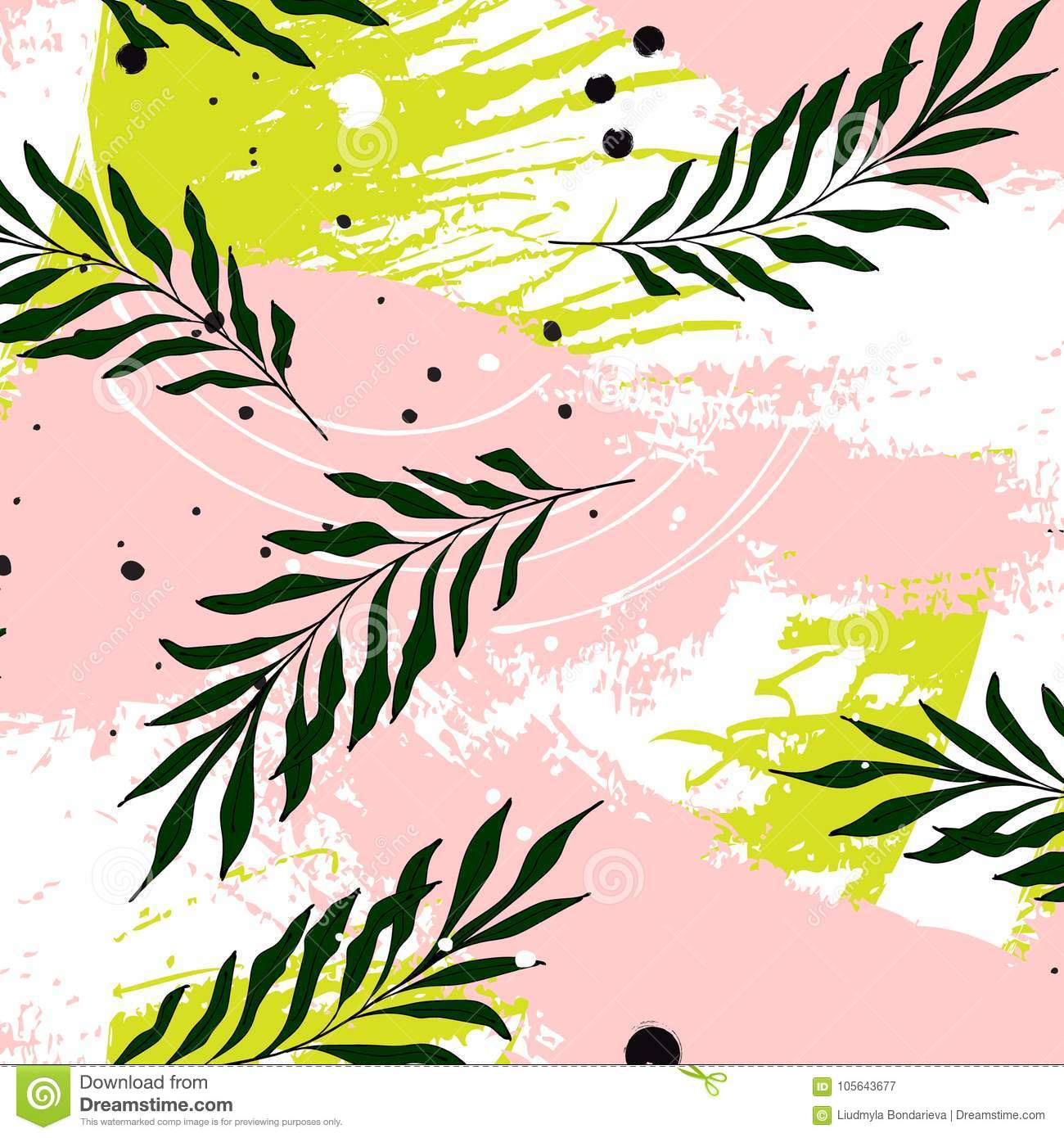 Vector Tropical Palm Leaves On Pink Green Background Modern