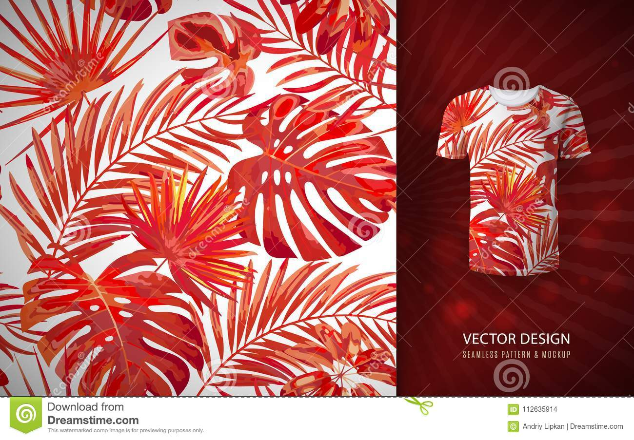 T Shirts Hawaiian Flower Branches with Exotic Giant Leaves and Birds Botany Prin