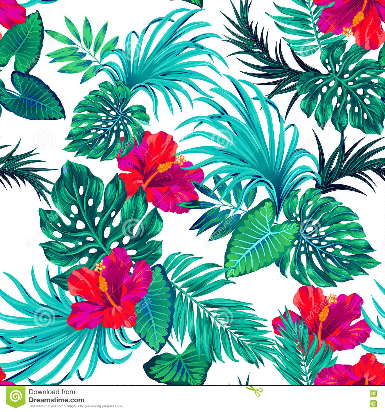 Vector Tropical Pattern With Palms And Hibiscus Flower Cartoon