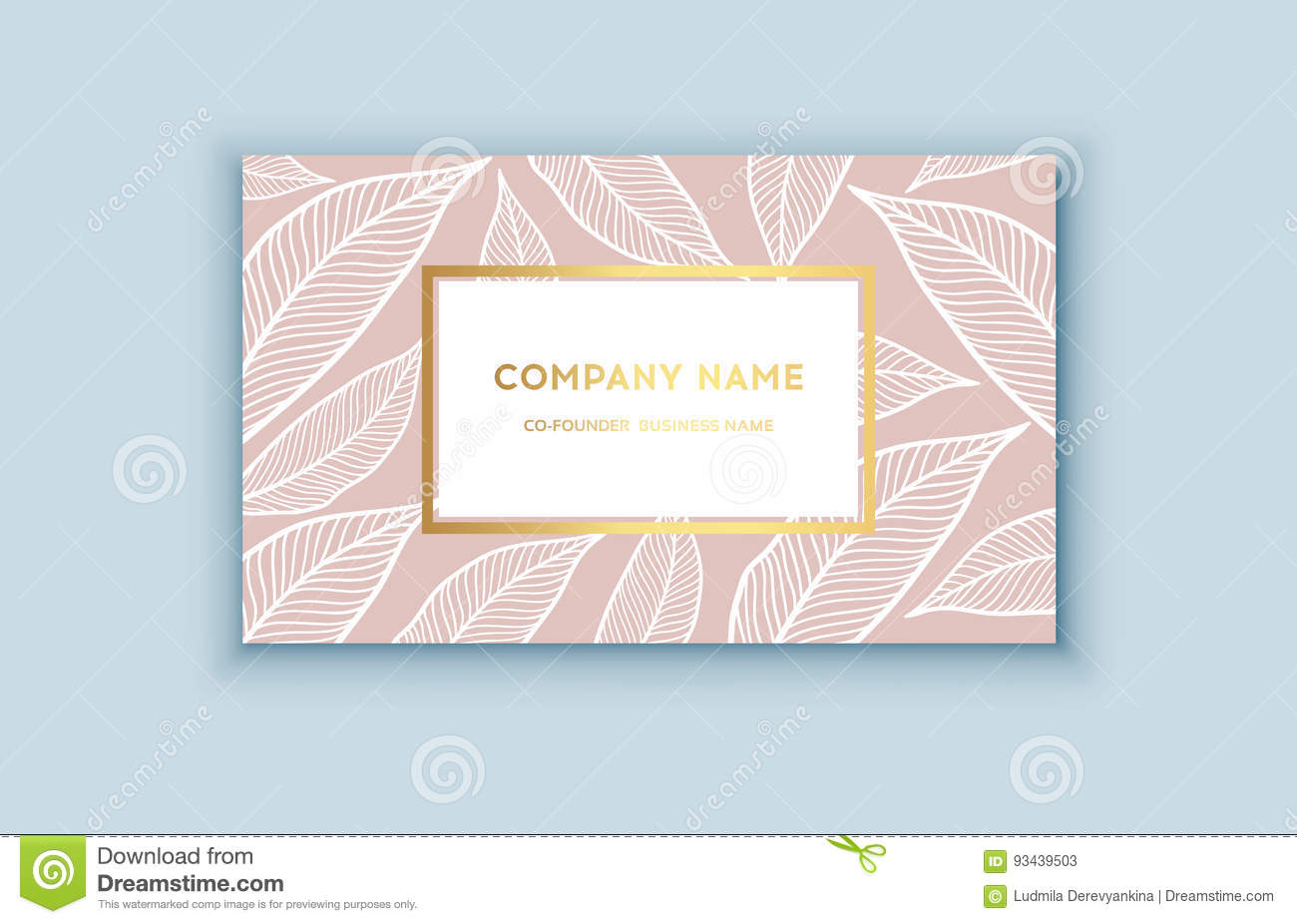 Vector Tropical Pink And Gold Business Card Stock Illustration