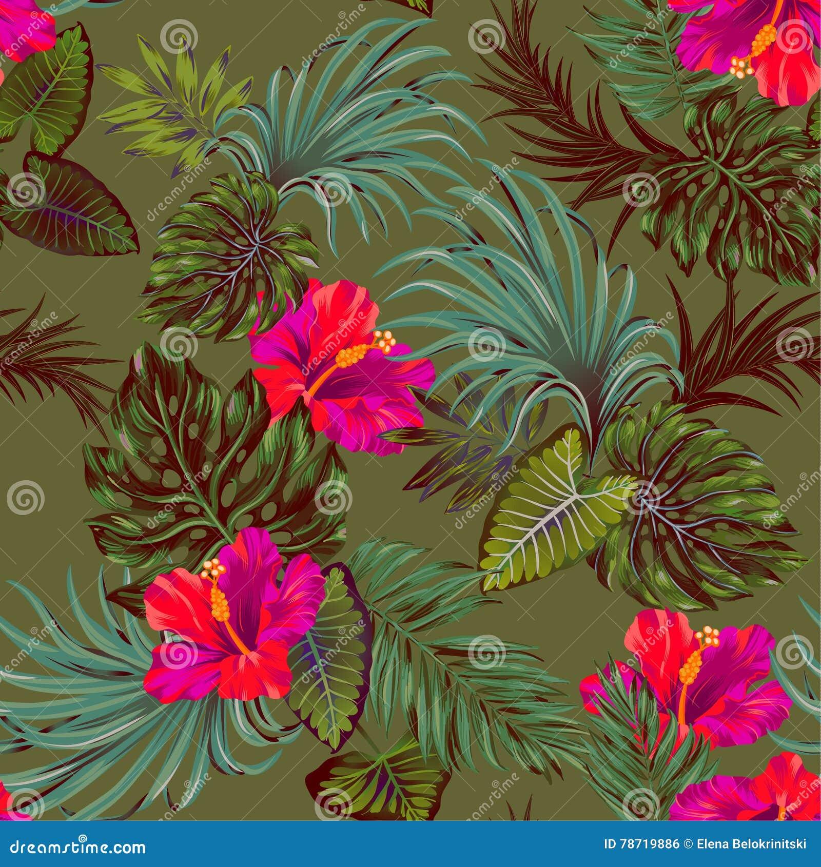 Vector tropisch patroon met palmen en hibiscusbloem