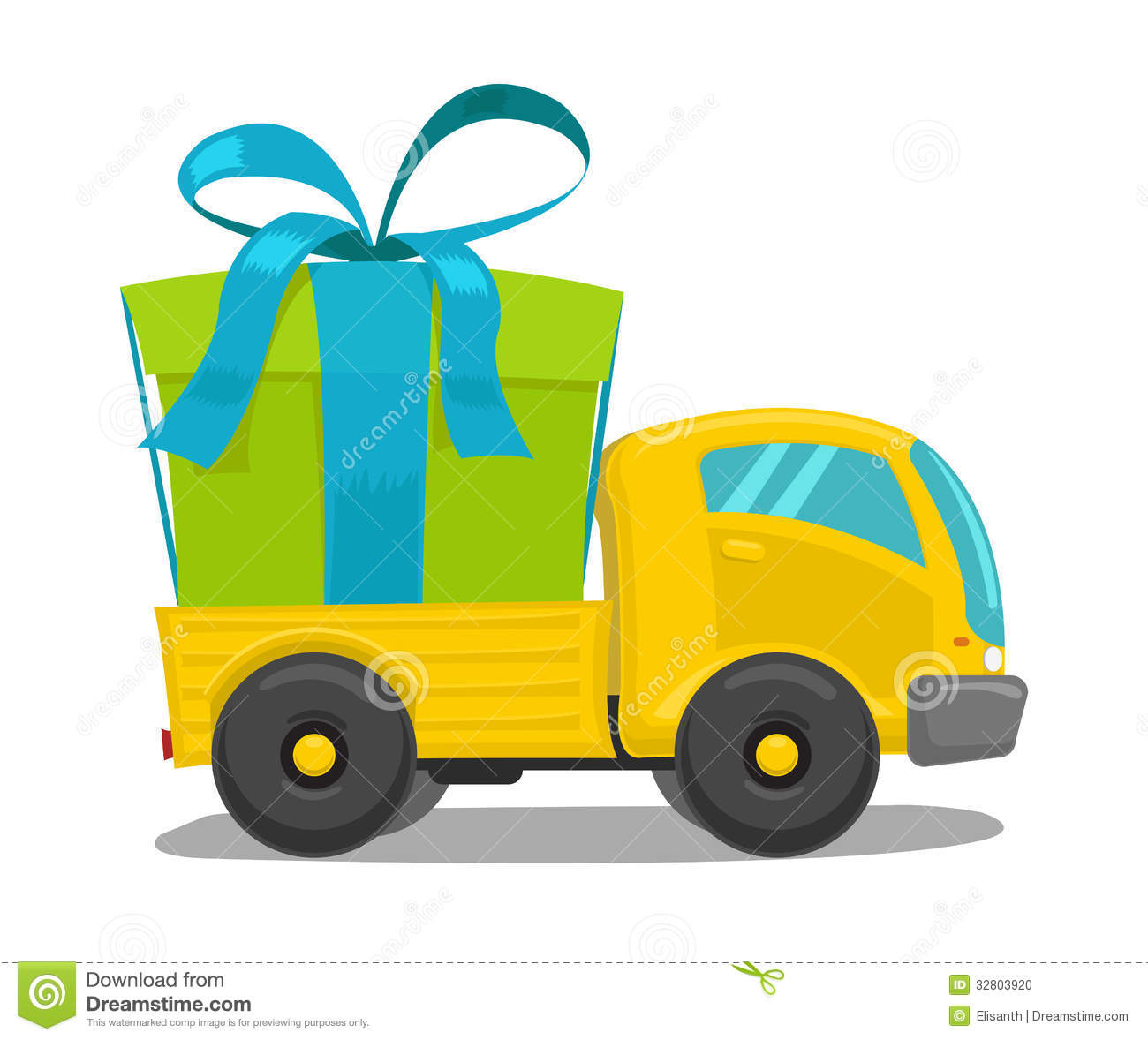 vector truck with gift box stock photo