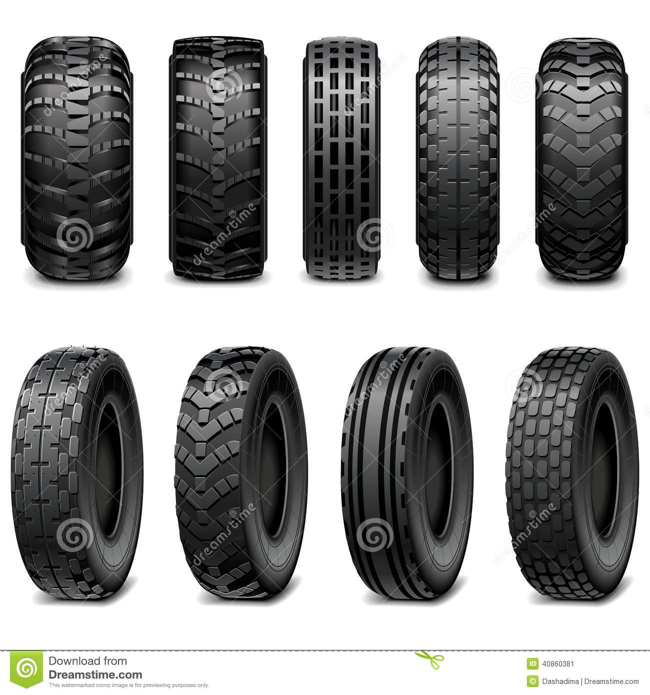 Vector Truck And Tractor Tires Stock Vector - Image: 40860381