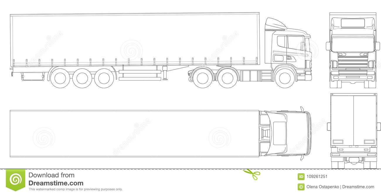 Vector Truck Trailer Outline  Commercial Vehicle  Cargo