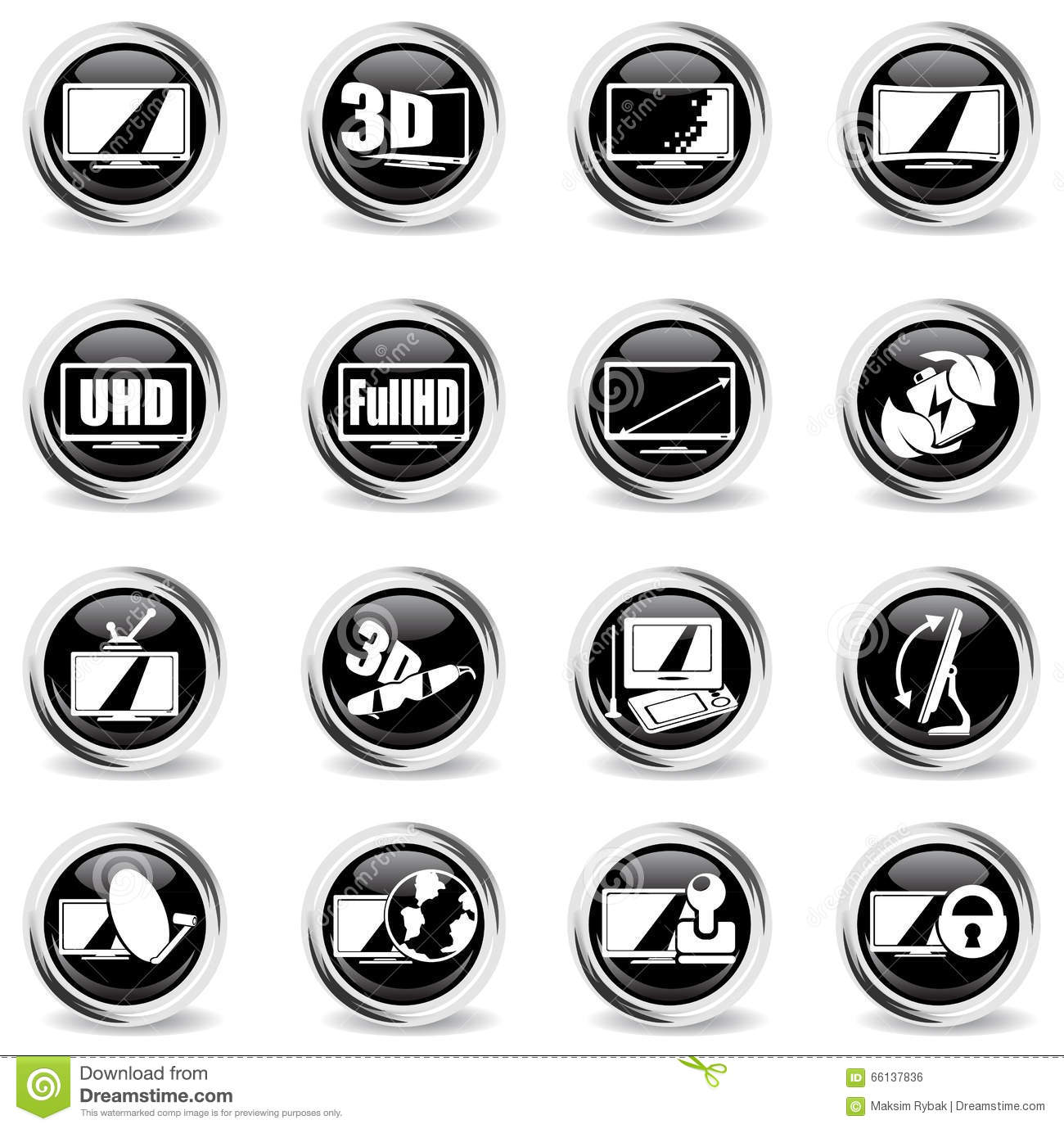 vector tv features and specifications icon set cartoon vector