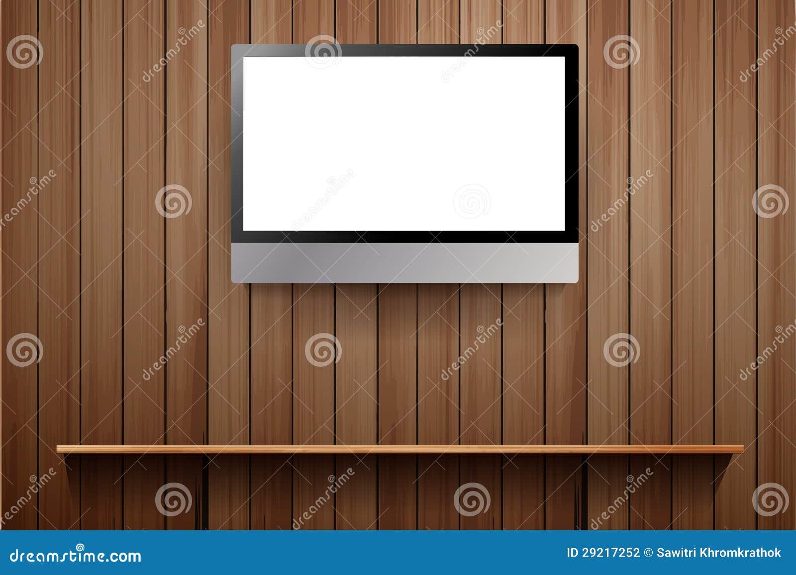 Vector TV Op Muur Met Houten Plank Royalty-vrije Stock Foto ...