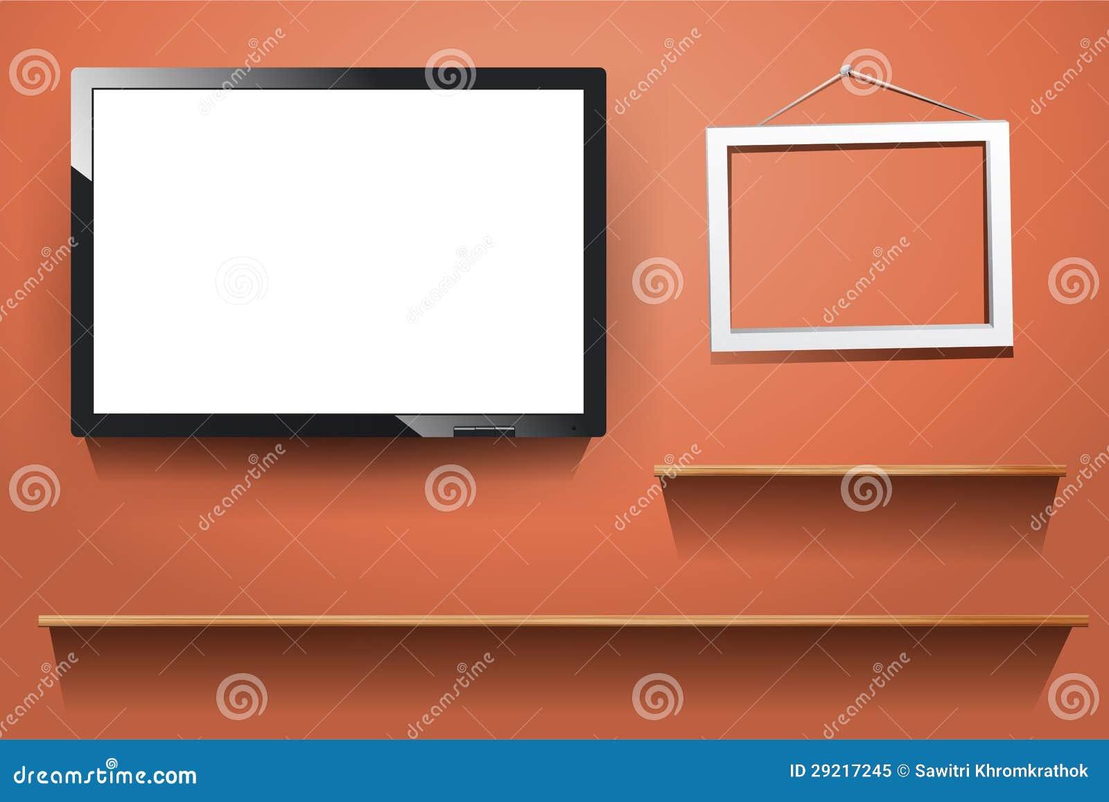 Vector tv op muur met houten plank royalty vrije stock foto afbeelding 29217245 - Muur plank onder tv ...