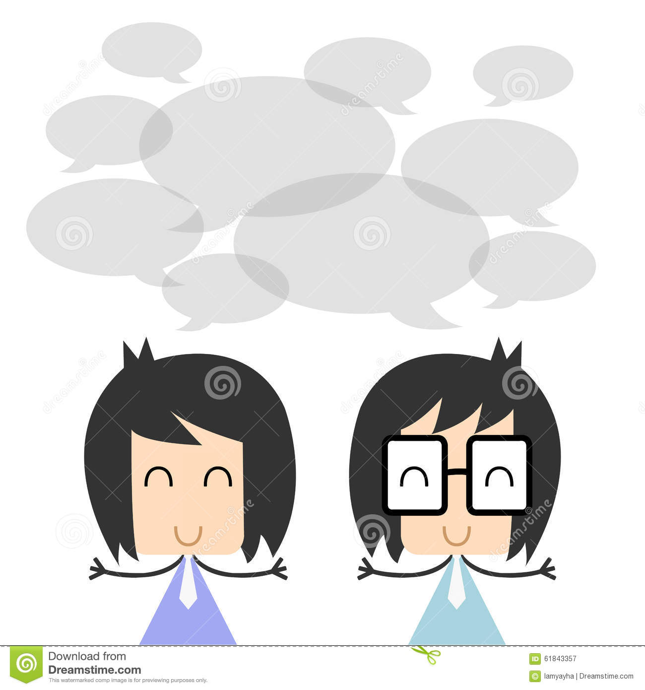 Character Design Illustration : Vector two business people talking and discussing flat