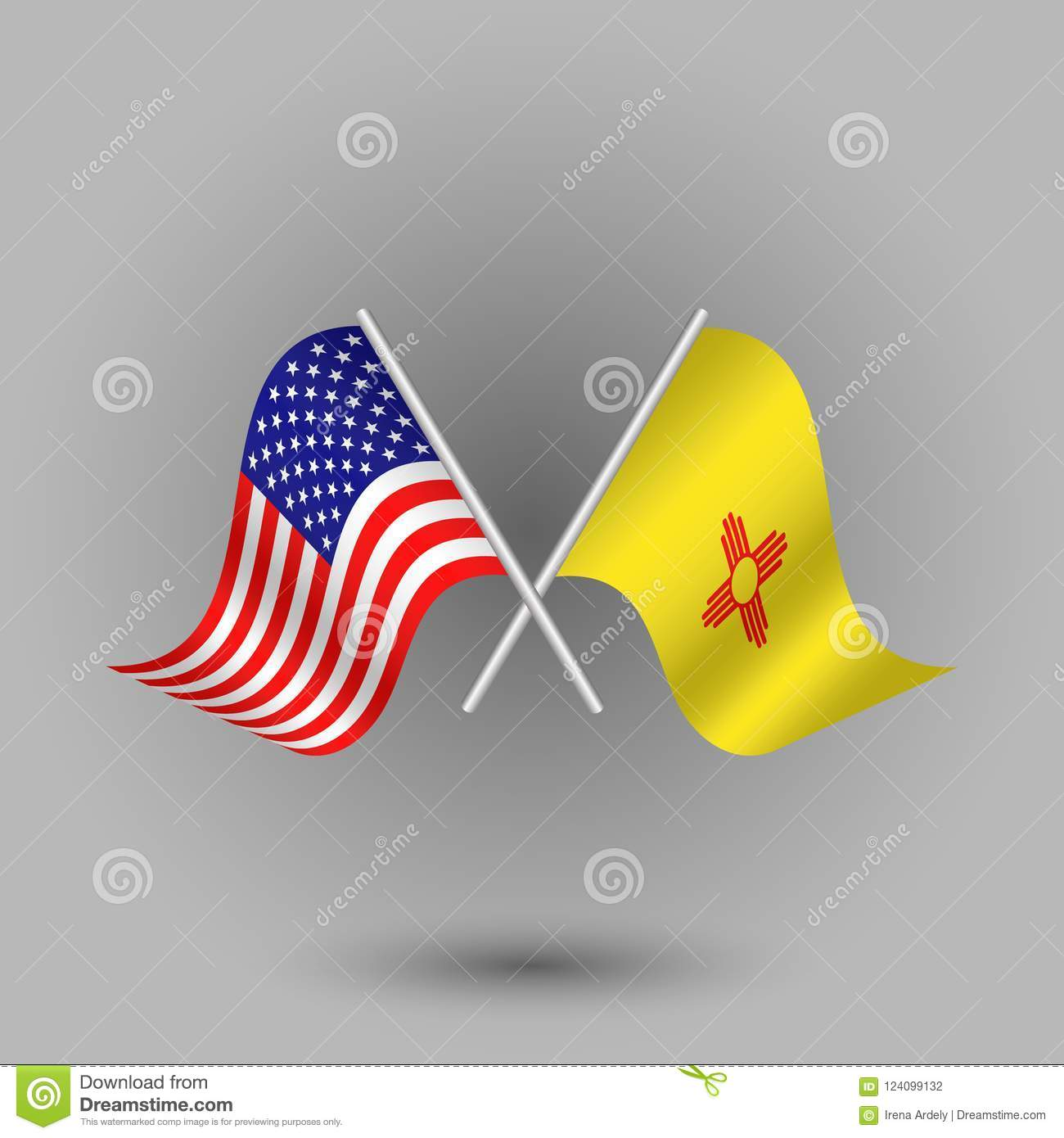 Vector Two Crossed American And Flag Of New Mexico Symbols Of United