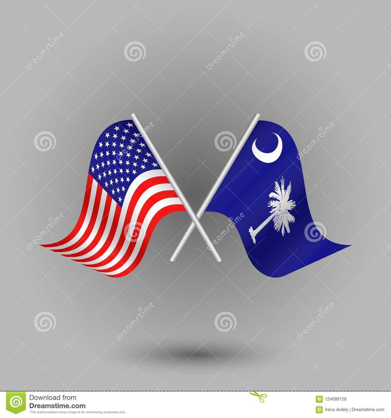 Vector Two Crossed American And Flag Of South Carolina Symbols Of