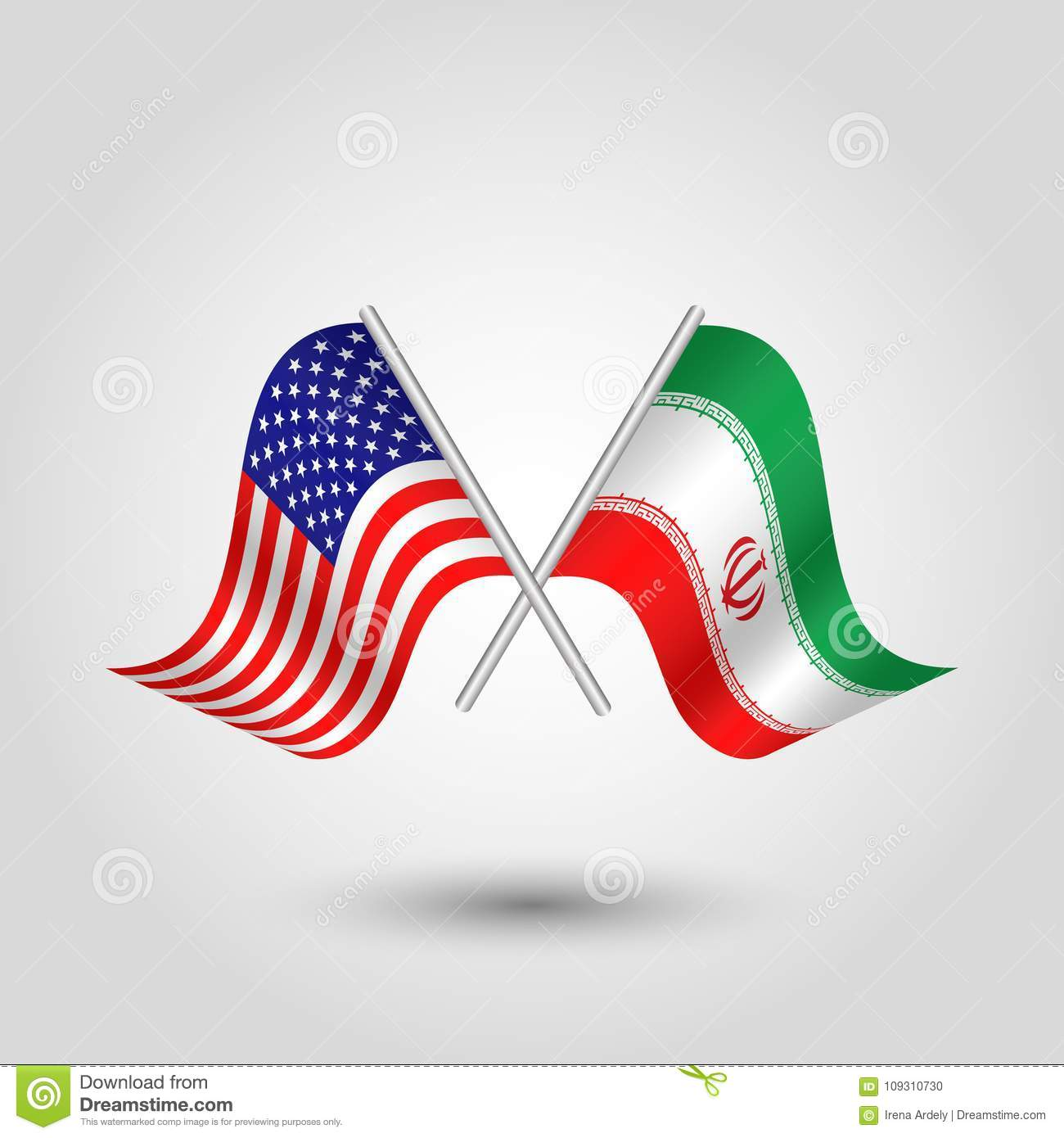Vector Two Crossed American And Iranian Flags On Silver Sticks Stock