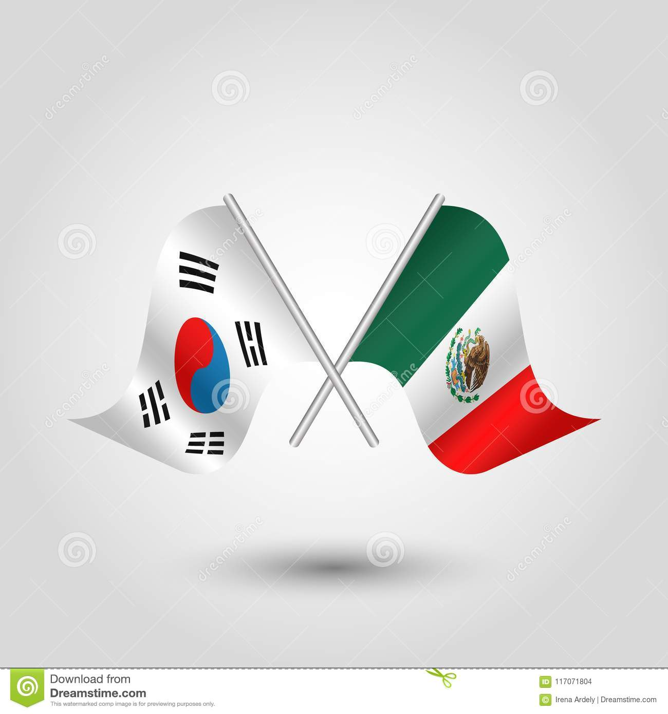 Vector Crossed Korean And Mexican Flags On Silver Sticks Symbol Of
