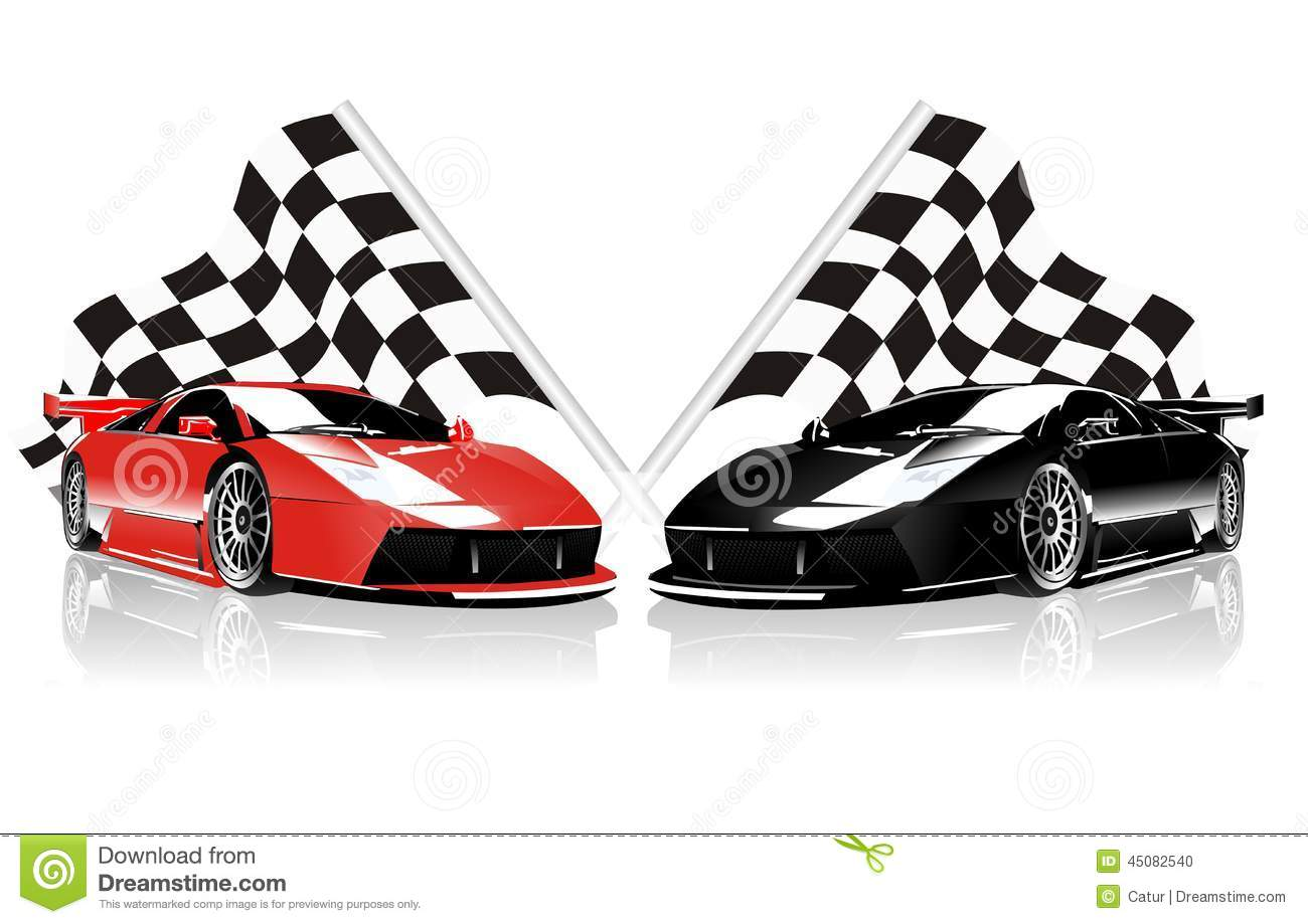 Stock Illustration Vector Two Racing Cars Flags White Background Image45082540 on Black Checkered Border