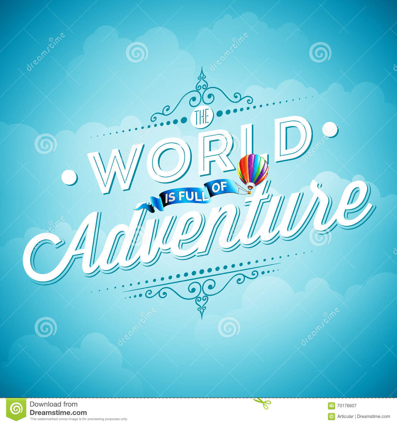 vector typography design element for greeting cards and posters the world is full of adventure