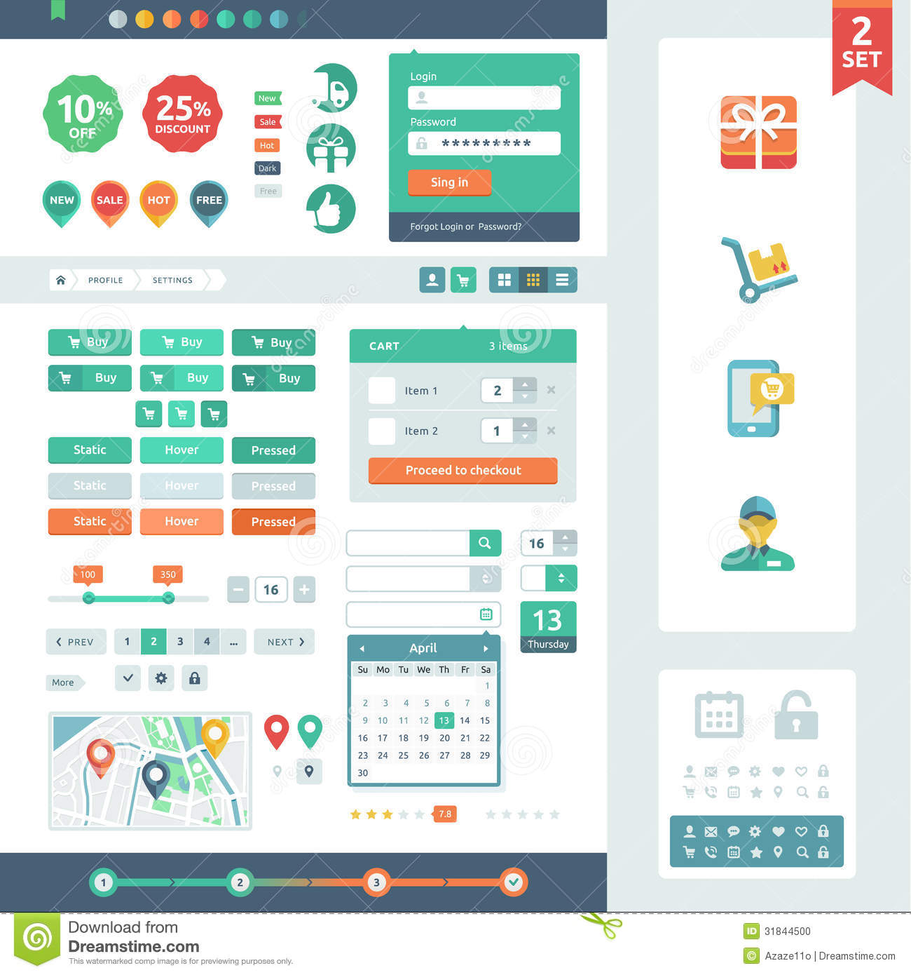 Vector UI Elements For Web And Mobile. Stock Photo - Image: 31844500
